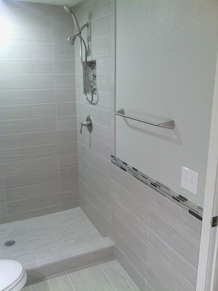 Double Shower Heads & Custom Shower Tile Work by Dynasty Remodeling LLC.